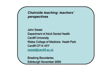 Chairside teaching: teachers' perspectives