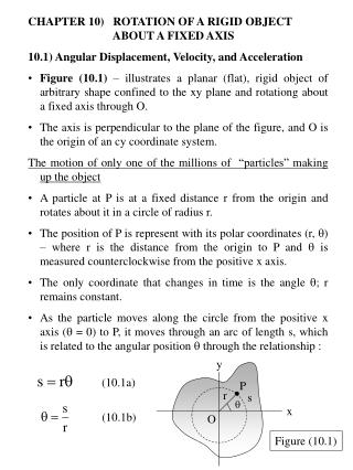 CHAPTER 10)   ROTATION OF A RIGID OBJECT 		             ABOUT A FIXED AXIS