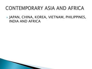 CONTEMPORARY ASIA AND AFRICA