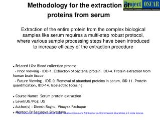Methodology for the extraction of  proteins from serum
