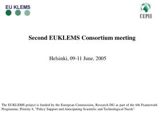 Second EUKLEMS Consortium meeting