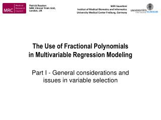 The Use of Fractional Polynomials  in Multivariable Regression Modeling