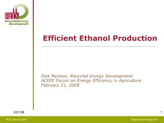 Efficient Ethanol Production