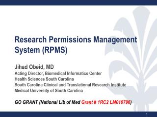 Research Permissions Management System (RPMS )