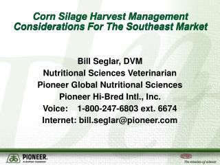 Corn Silage Harvest Management Considerations For The Southeast Market