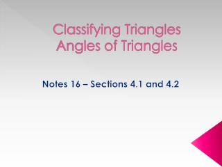 Classifying Triangles  Angles of Triangles