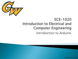 ECE-1020 Introduction to Electrical and Computer Engineering