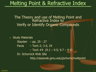 Melting Point & Refractive Index