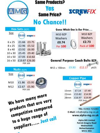 Same Products? Yes Same Price?  No Chance!!