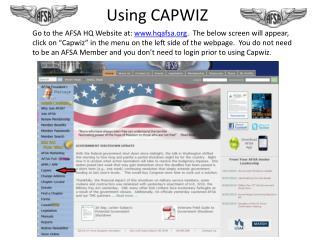 Using CAPWIZ