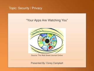 Topic: Security / Privacy