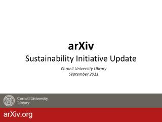 arXiv Sustainability Initiative Update