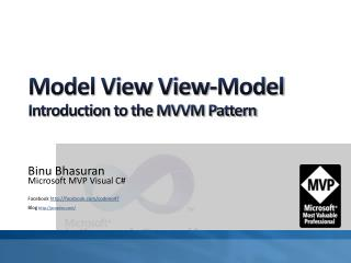 Model View View-Model Introduction  to the  MVVM Pattern
