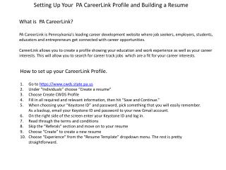 Setting Up Your  PA  CareerLink  Profile and Building a Resume