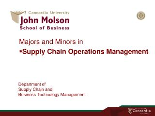 Department of Supply Chain and Business Technology Management
