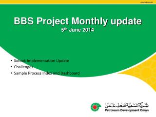 BBS Project Monthly update 5 th  June 2014