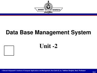 Data Base Management System Unit -2