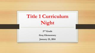 Title 1 Curriculum Night