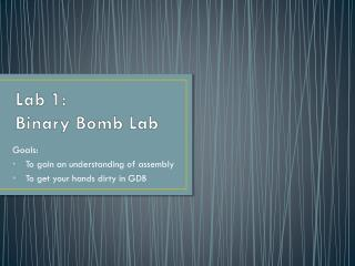 Lab  1:   Binary Bomb Lab