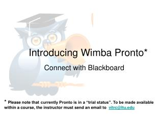 Introducing Wimba Pronto*