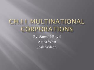 Ch.11 Multinational Corporations