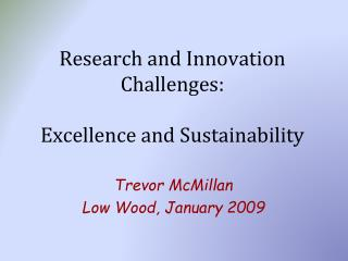 Research and Innovation Challenges: Excellence and Sustainability
