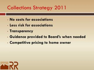 Collections Strategy 2011