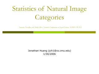 Statistics of Natural Image Categories  Antonio Torralba and Aude Oliva. Network: Computation in Neural Systems, 142003
