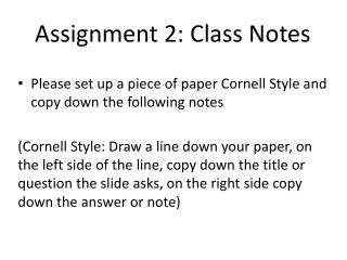 Assignment 2: Class Notes
