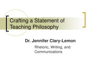 Crafting a Statement of Teaching Philosophy