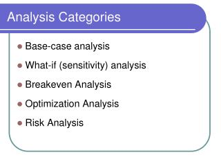 Analysis Categories
