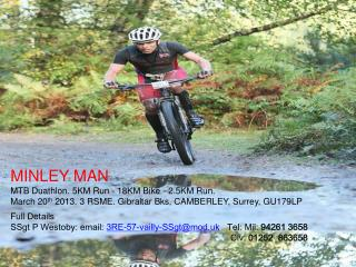 MINLEY MAN  MTB Duathlon. 5KM Run - 18KM Bike - 2.5KM Run.