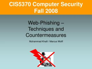 Web-Phishing –  Techniques and Countermeasures