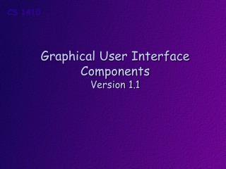 Graphical User Interface Components Version  1.1