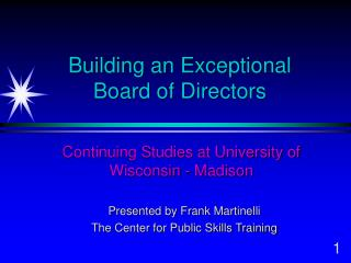 Building an Exceptional Board of Directors