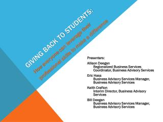 GIVING BACK TO STUDENTS: