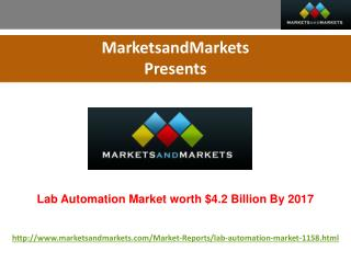 Lab Automation Market worth $4.2 Billion By 2017