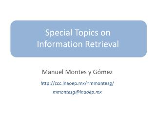 Special Topics on Information Retrieval