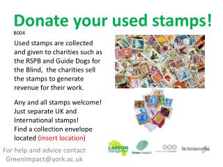 For help and advice contact GreenImpact@york.ac.uk