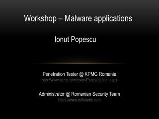 Workshop – Malware applications