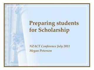 Preparing students for Scholarship