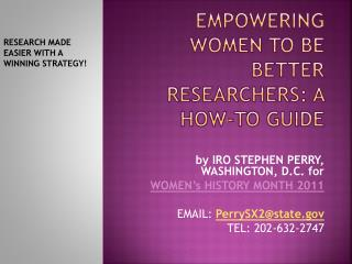 Empowering  WomeN  TO BE BETTER RESEARCHERS: A HOW-TO GUIDE