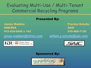 Evaluating Multi-Use / Multi-Tenant  Commercial Recycling Programs