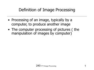 Definition of Image Processing