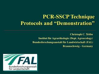 "PCR-SSCP Technique Protocols and ""Demonstration"""