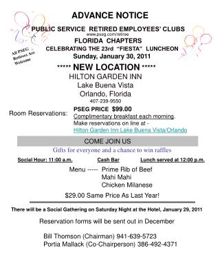 PUBLIC SERVICE  RETIRED EMPLOYEES' CLUBS   FLORIDA  CHAPTERS