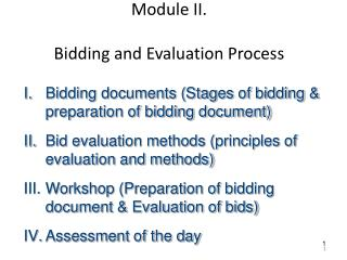 Module II.  Bidding  and Evaluation Process