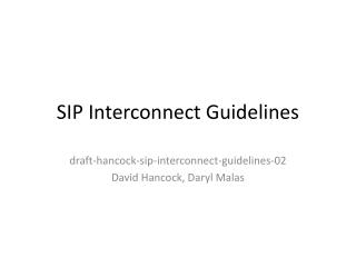 SIP Interconnect Guidelines