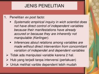 JENIS PENELITIAN