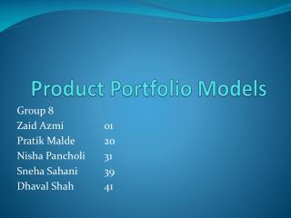 Product Portfolio Models